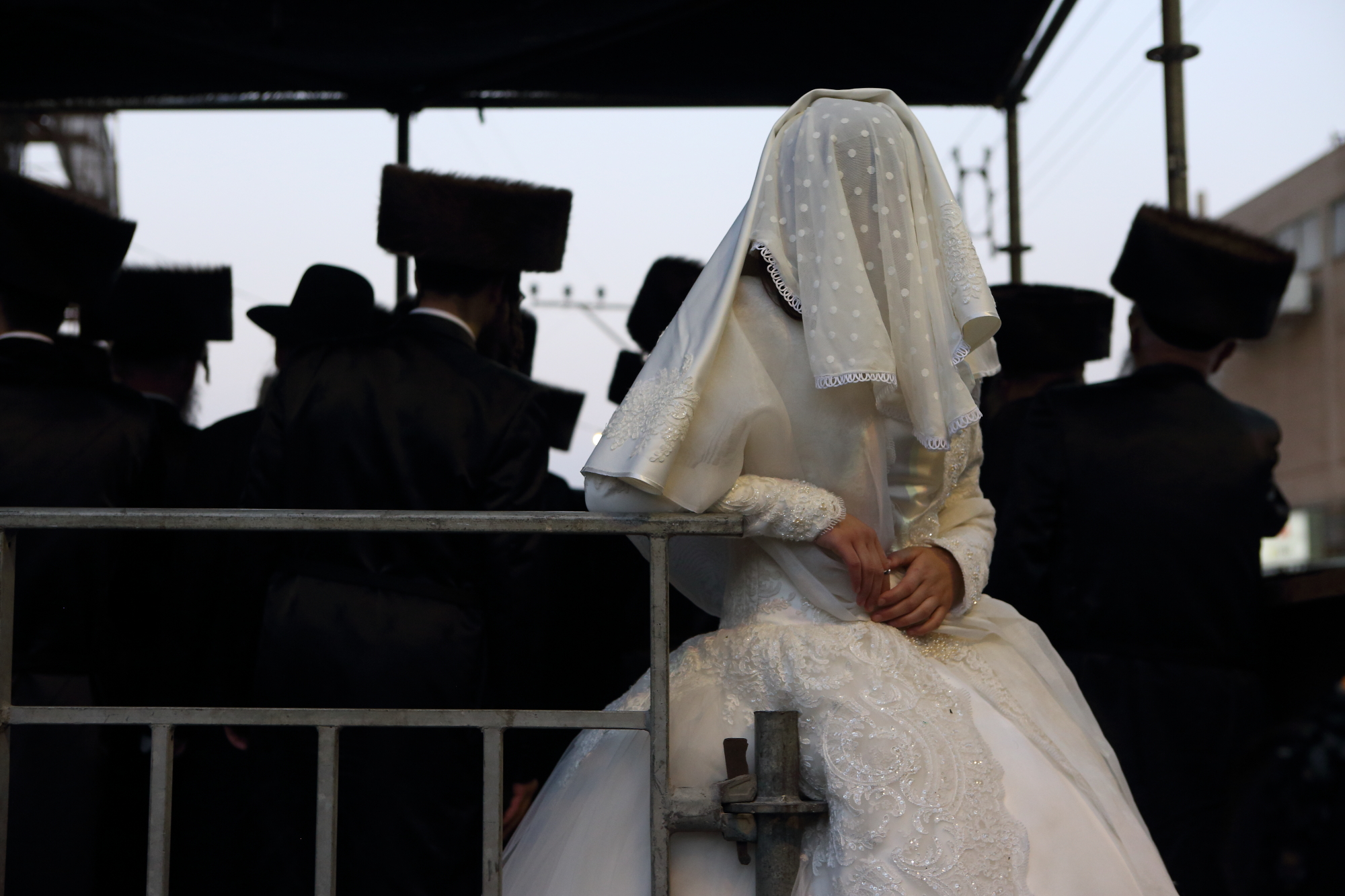 ULTRA ORTHODOX JEWISH BRIDE AT HER WEDDING